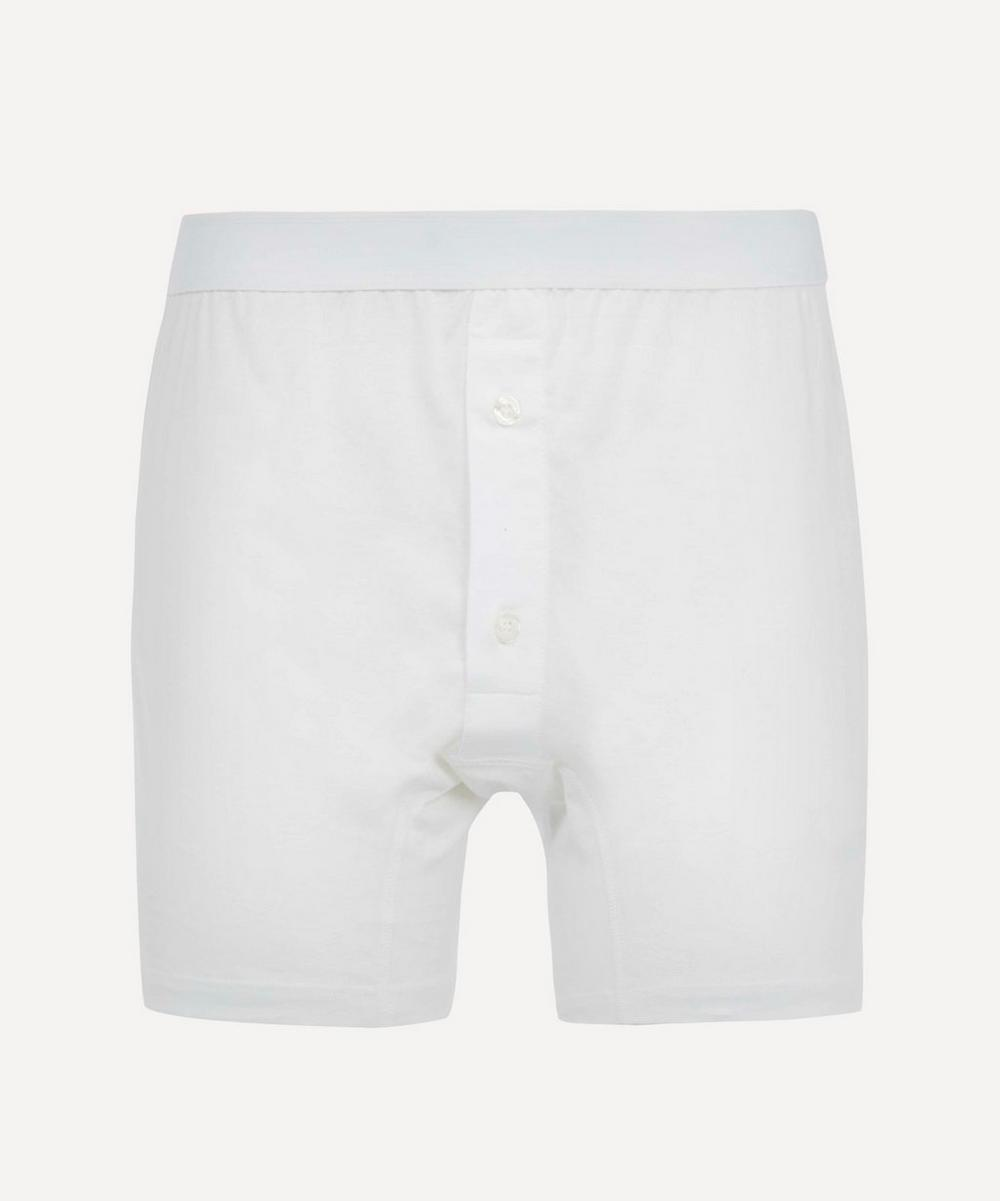 Striped Two-Button Superfine Cotton Boxer
