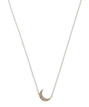 Mini Crescent Moon Necklace White Diamonds 18k Yellow Gold
