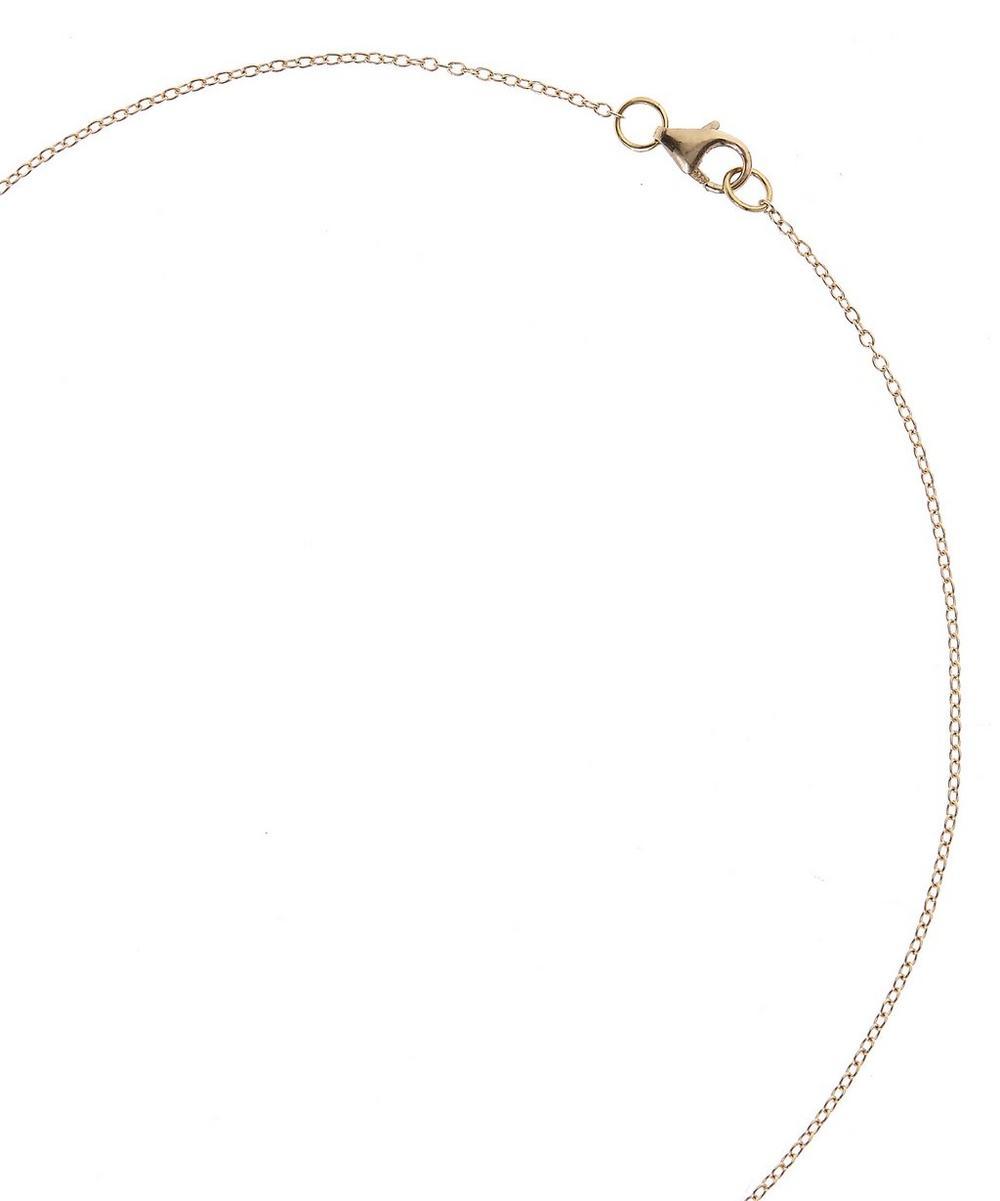 Mini Crescent Moon Necklace White Diamonds 18k Yellow Gold