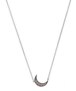 Mini White Gold Crescent Moon Necklace
