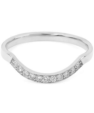 White Diamond and White Gold Diamond Dusted Curve Ring