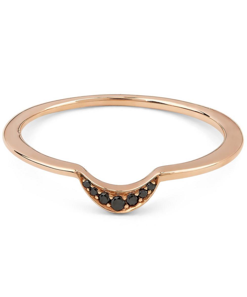 Black Diamond and Rose Gold Tiny New Moon Ring