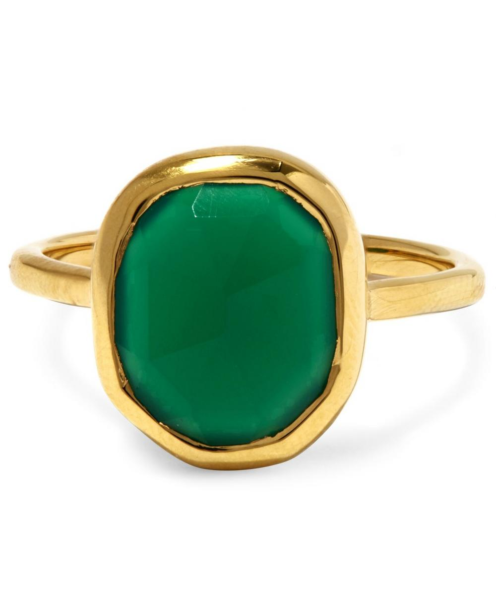 Gold Vermeil Siren Medium Green Onyx Stacking Ring