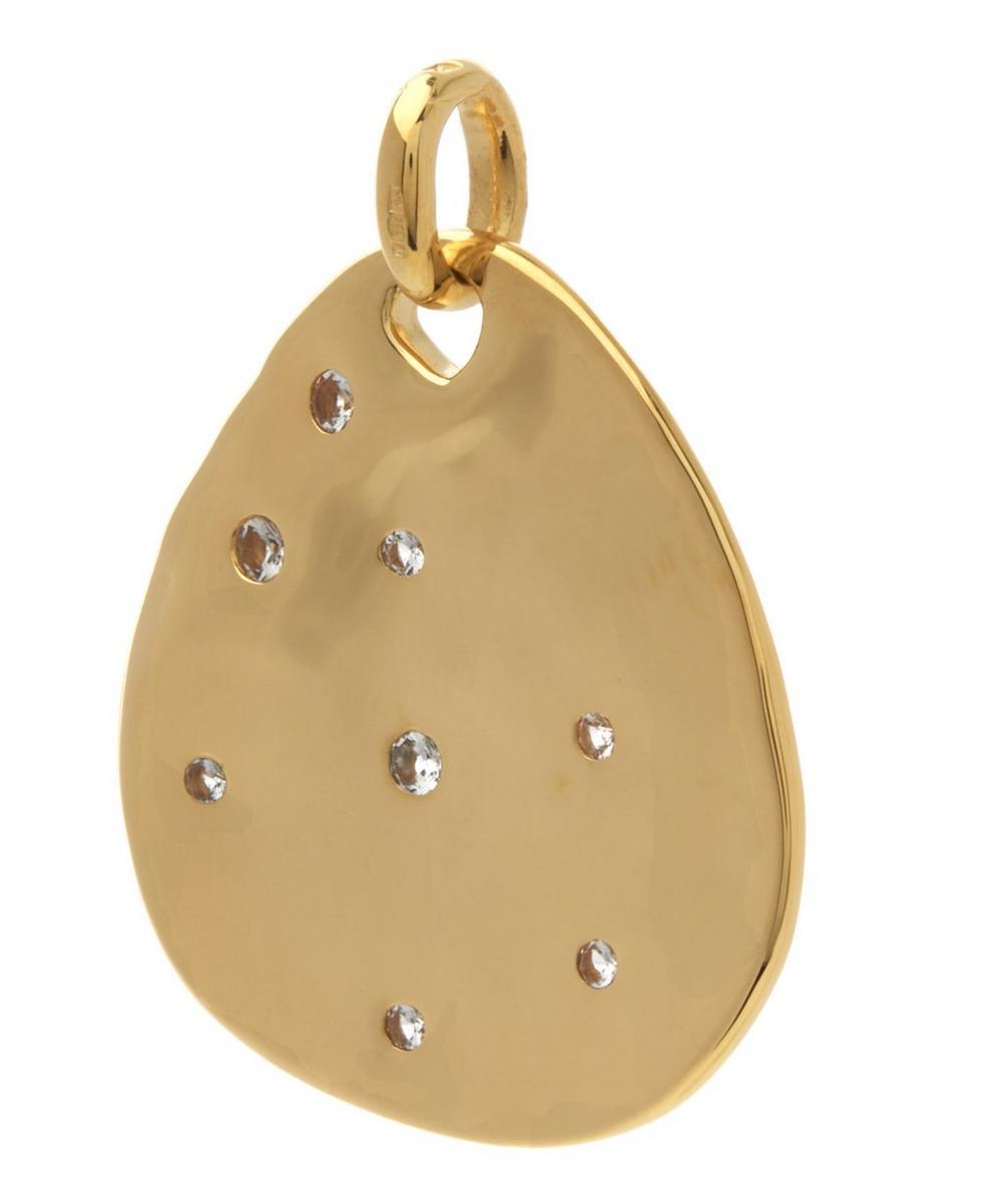 Gold-Plated White Topaz Siren Scatter Teardrop Pendant