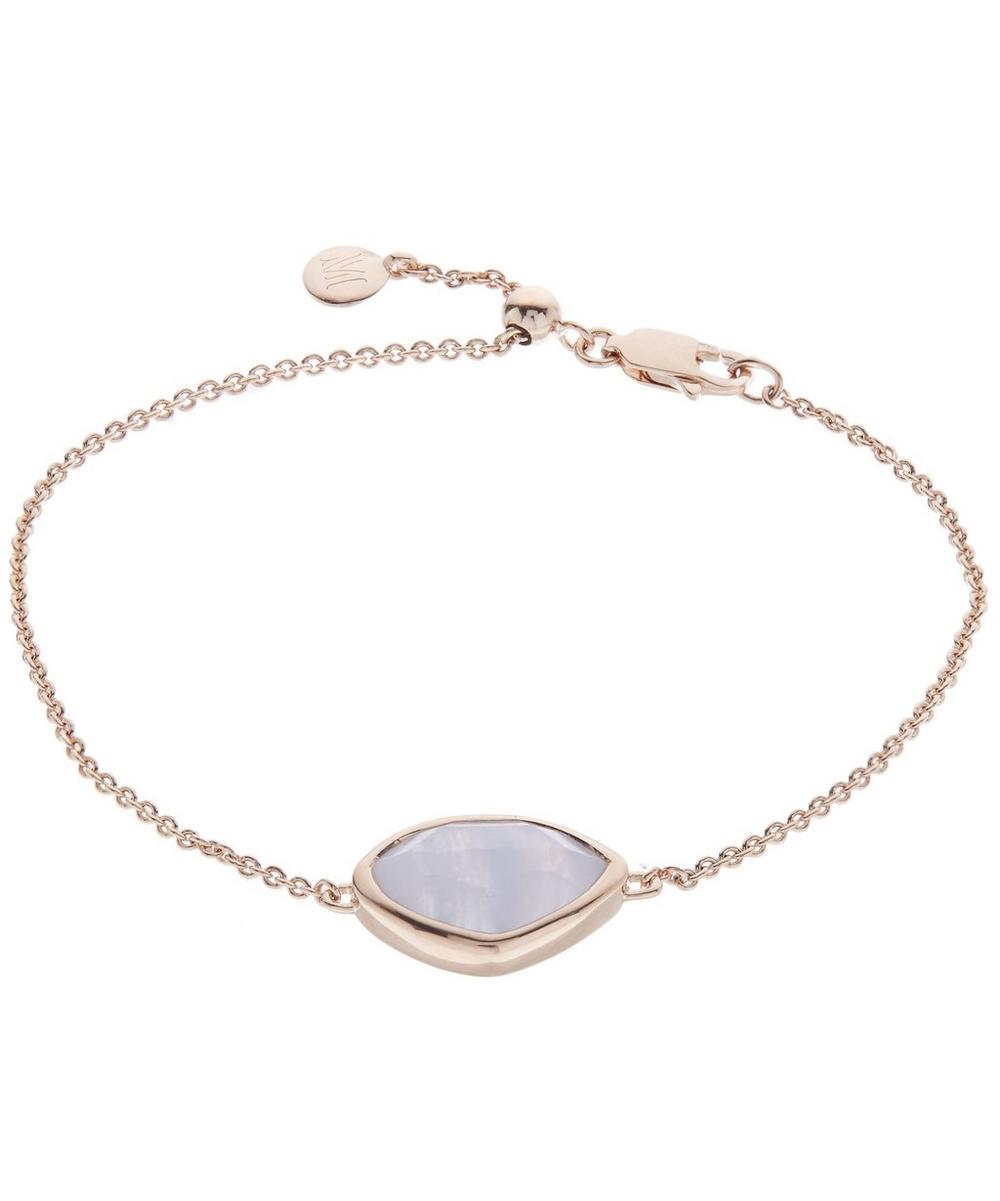 Rose Gold-Plated Blue Lace Agate Siren Teardrop Bracelet