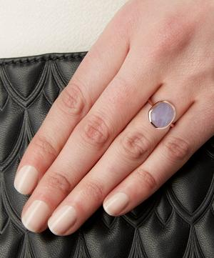Rose Gold-Plated Blue Lace Agate Medium Siren Stacking Ring