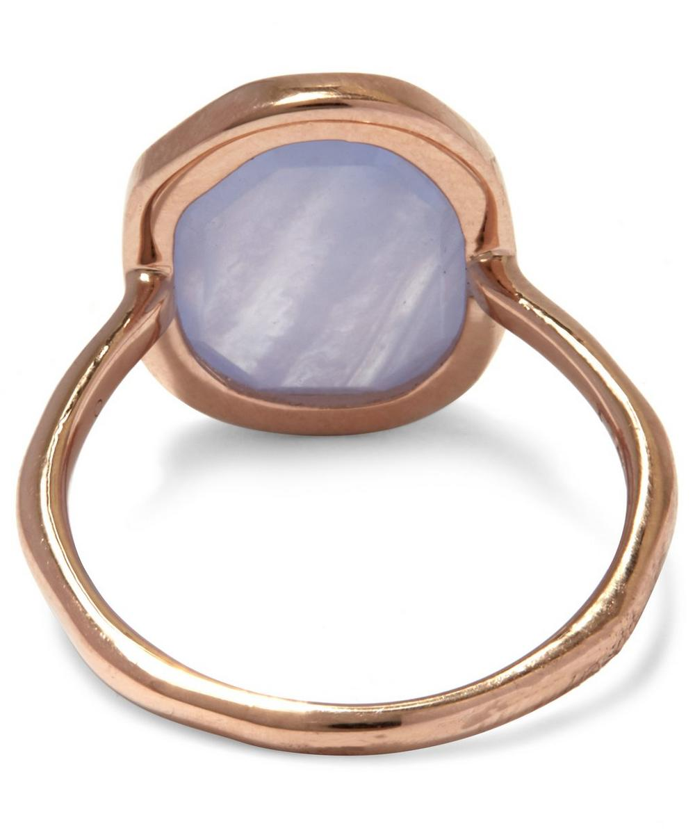 Rose Gold Vermeil Siren Medium Blue Lace Agate Stacking Ring