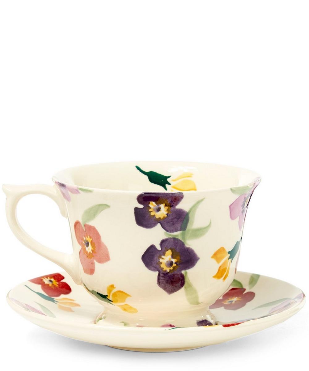 Wallflower Earthenware Tea Cup and Saucer