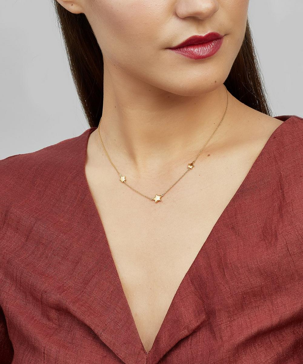 Gold-Plated Bijou Three Star Necklace
