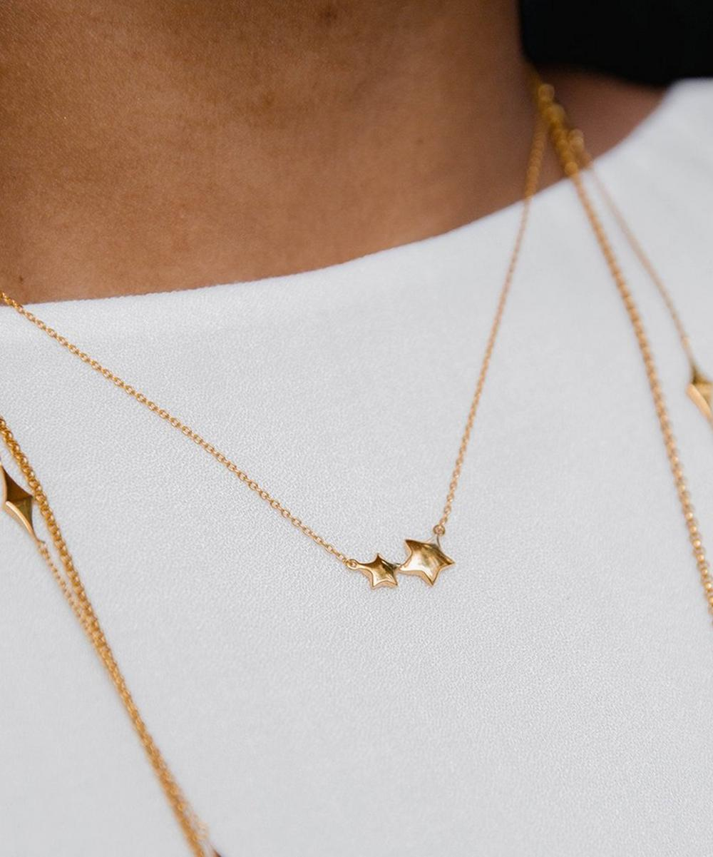 Gold-Plated Bijou Double Star Pendant Necklace