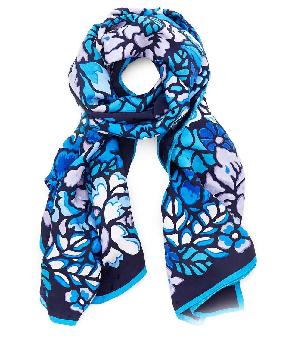 Camouflage Floral Satin Jacquard Spot Scarf