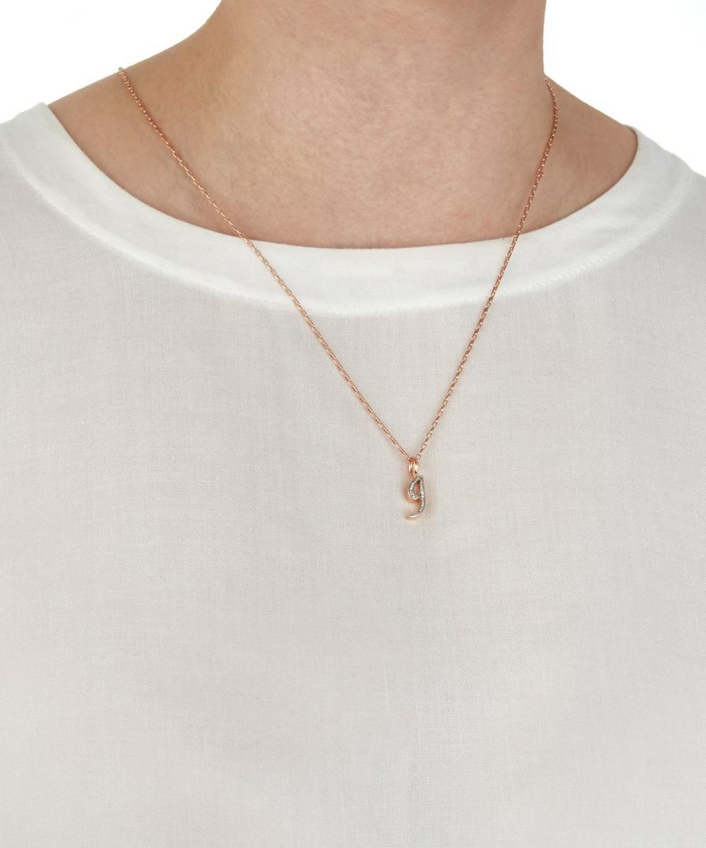 Rose Gold-Plated Alphabet Diamond G Pendant