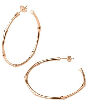 Large Rose Gold-Plated Bamboo Hoop Earrings