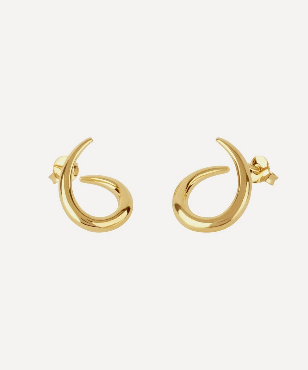 Medium Gold-Plated Toro Twist Stud Earrings