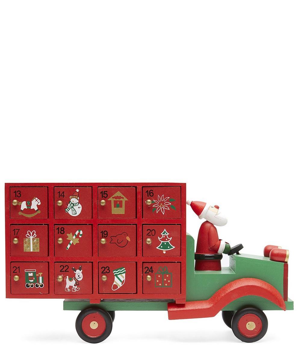 Wooden Santa Lorry Advent Calendar