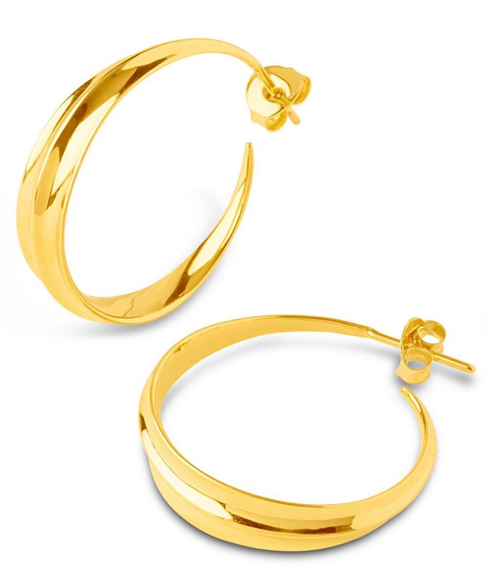 Medium Gold-Plated Lotus Hoops