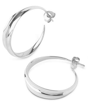 Medium Silver Lotus Hoops