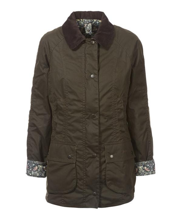 Strawberry Thief Lined Waxed Beadnell Jacket
