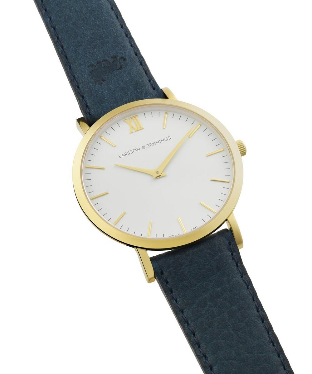 7c5d91d4277a9 Gold-Plated Lader Cyan Leather Strap Watch | Liberty London