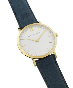 Gold-Plated Lader Cyan Leather Strap Watch