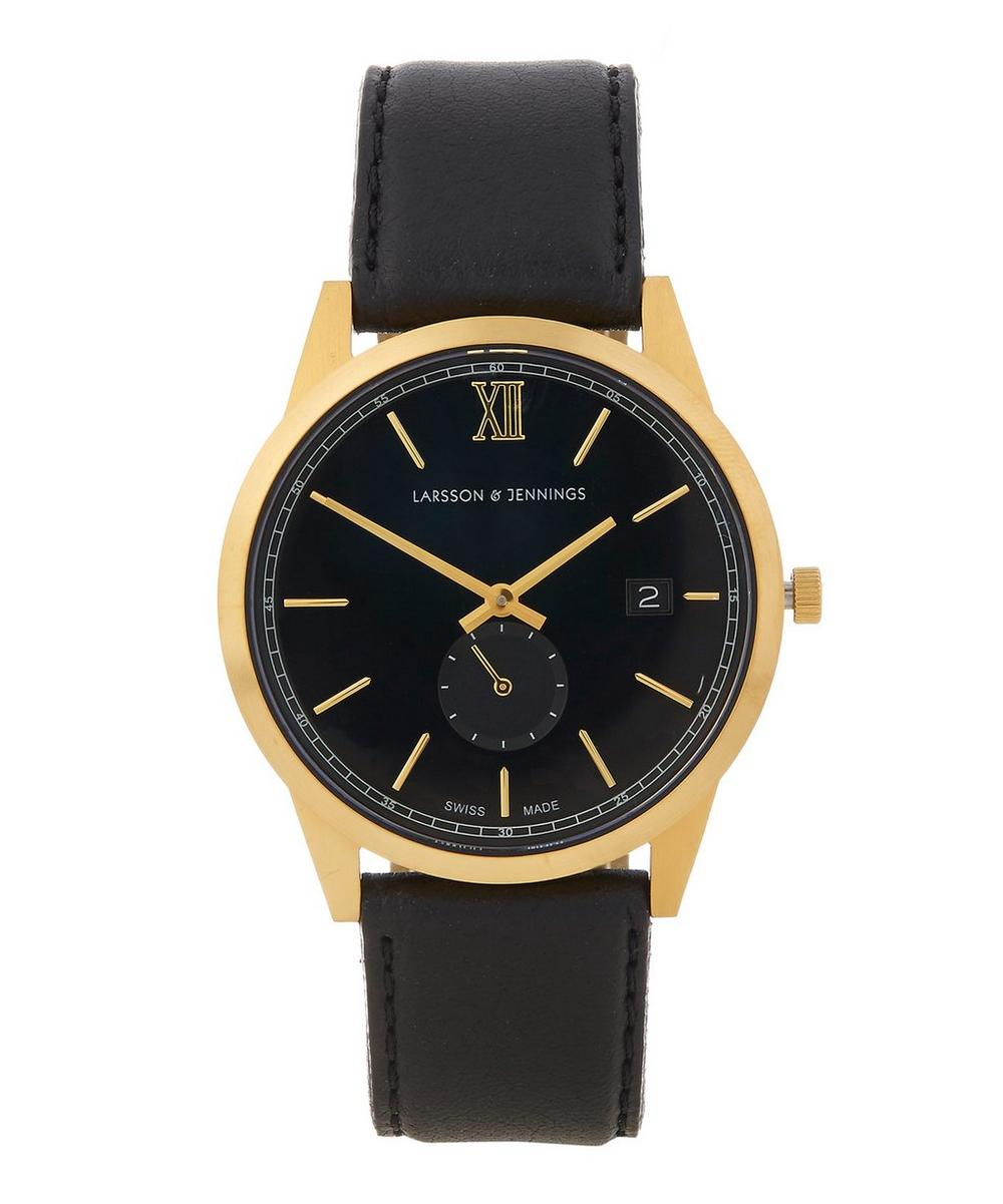 Larsson and Jennings - Saxon 39mm Black-Gold leather Watch