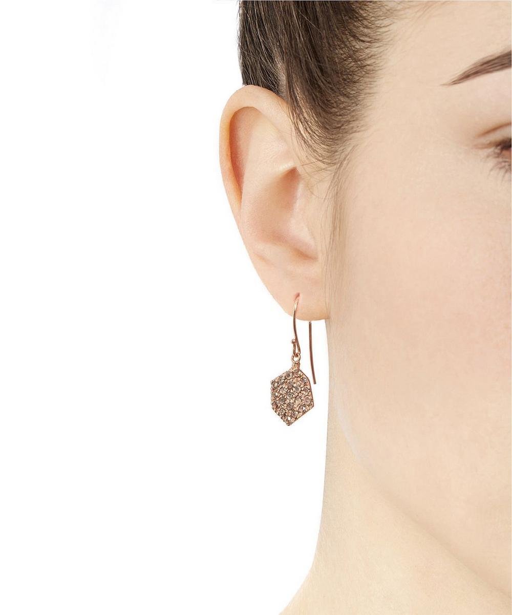 Rose Gold Brown Diamond Hexagon Drop Earrings