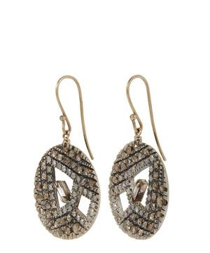 Gold Brown and White Diamond Circular Cut Out Earrings
