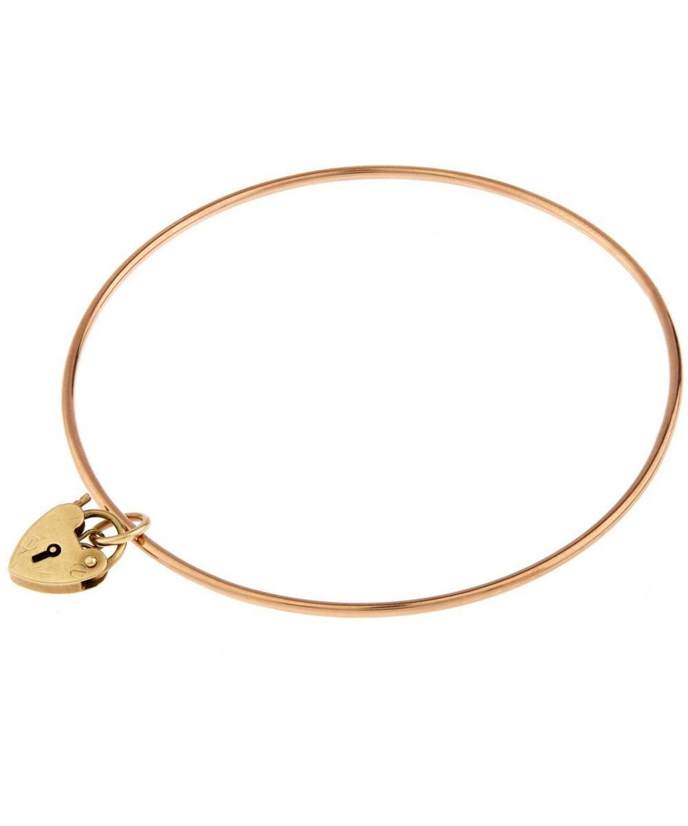 Rose Gold Heart lock Charm Bangle