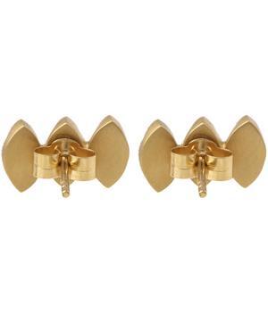 Gold Triple Sapphire Marquise Stud Earrings