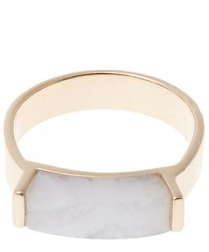 Rose Gold Vermeil Linear Blue Lace Agate Stone Ring