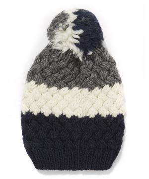 Tricolour Pom Pom Beanie Hat