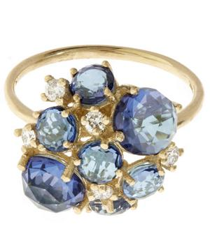 Gold English Blue Topaz Cluster Ring