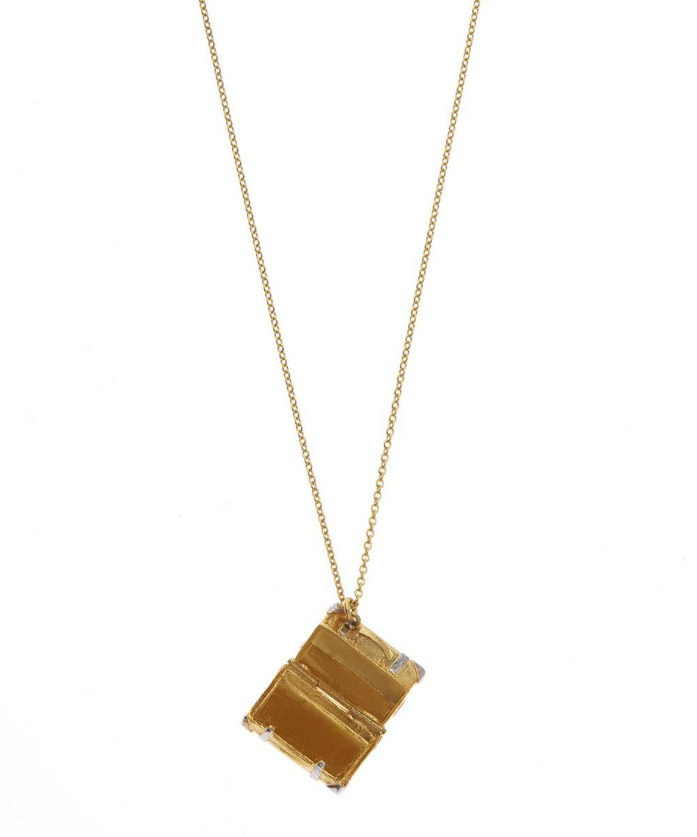 Gold-Plated and Silver Vintage Suitcase Locket Necklace