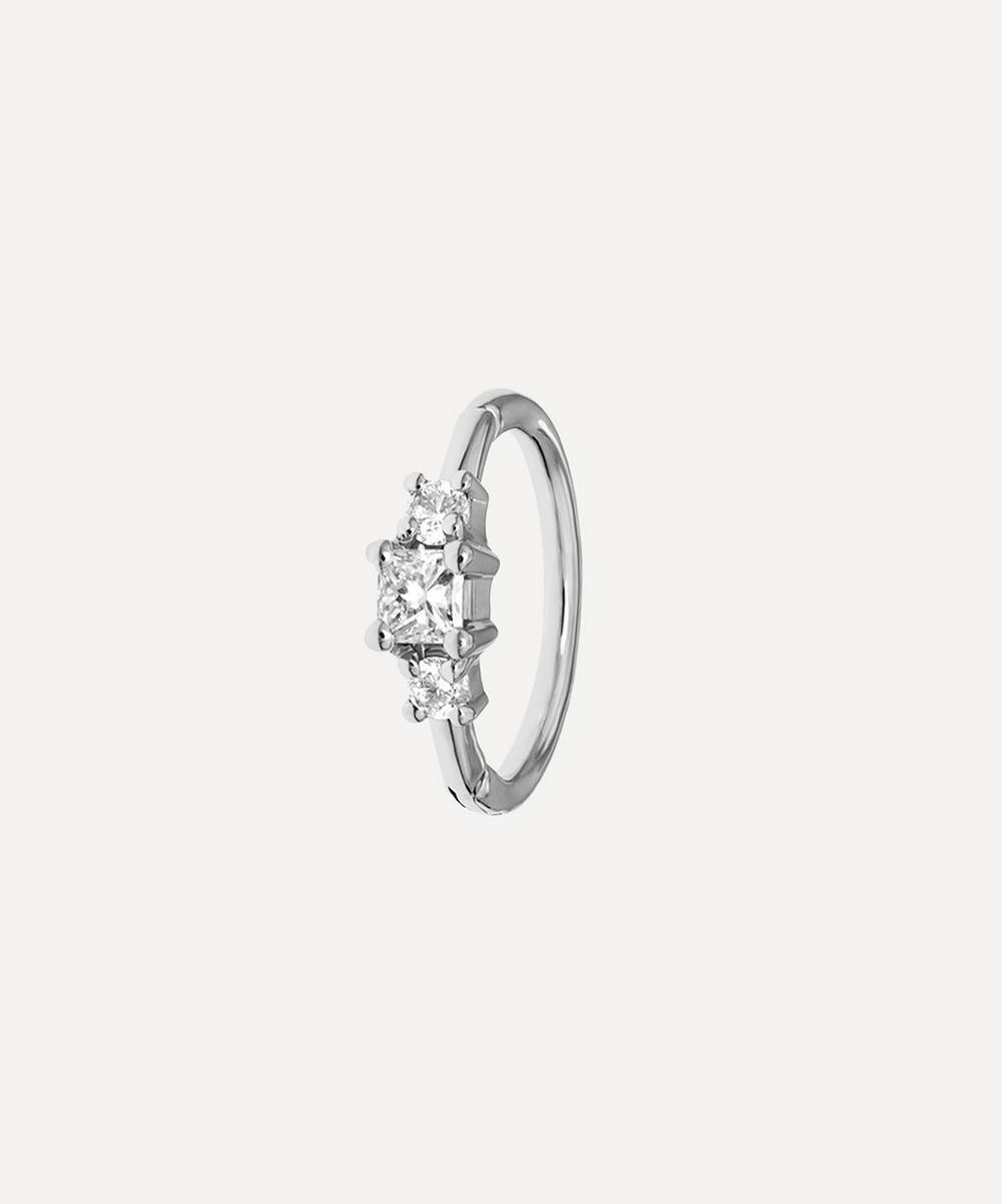 Maria Tash - 18ct 8mm Diamond Princess Single Hoop Earring