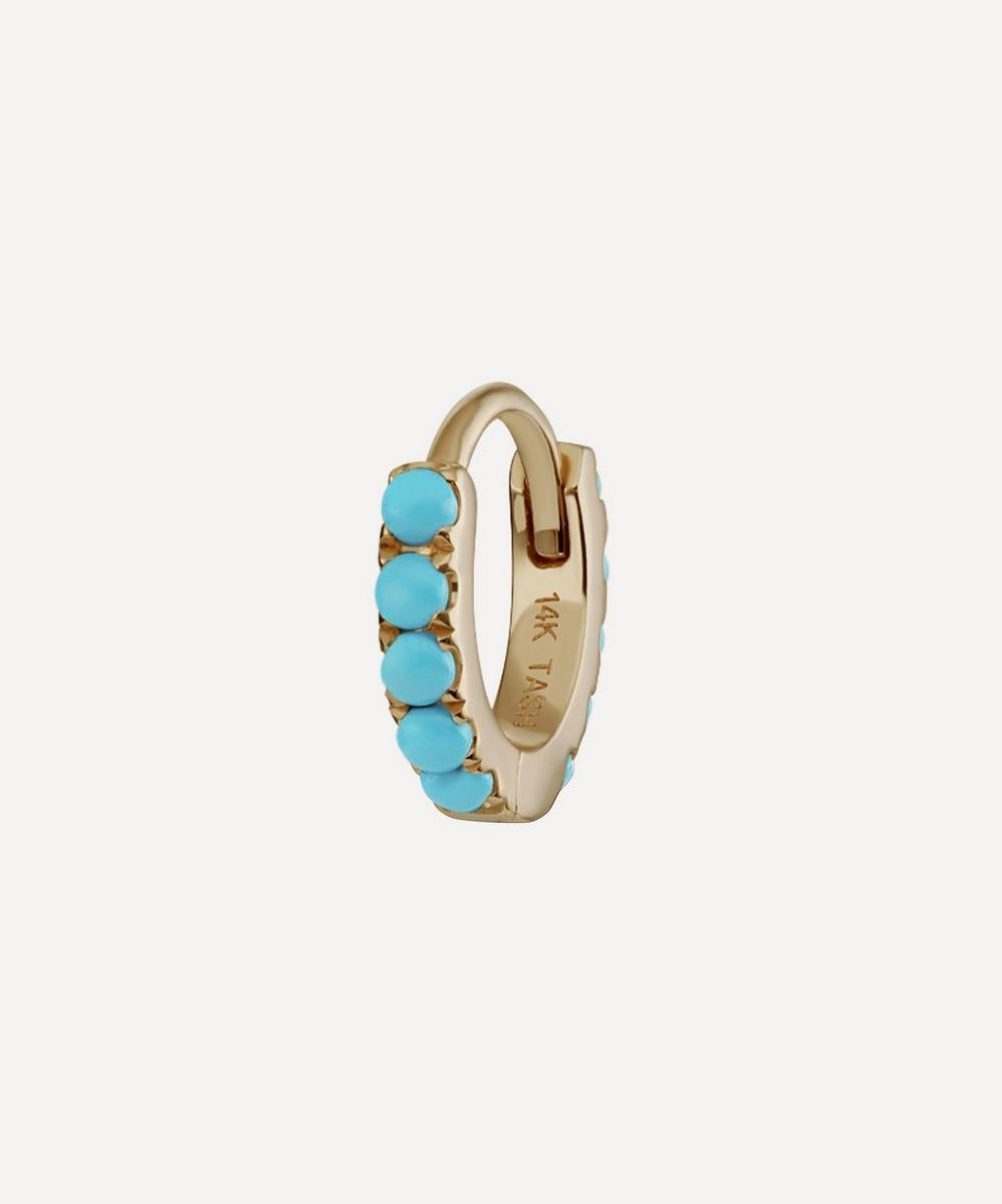 Maria Tash - 14ct 6.5mm Turquoise Eternity Single Hoop Earring