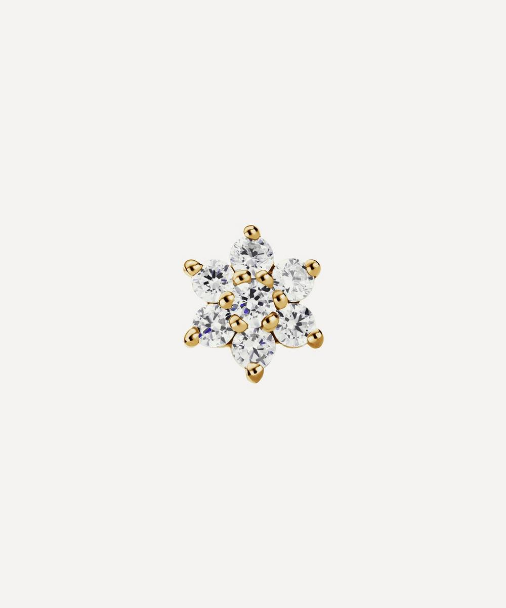 4.5mm Diamond Flower Threaded Stud Earring