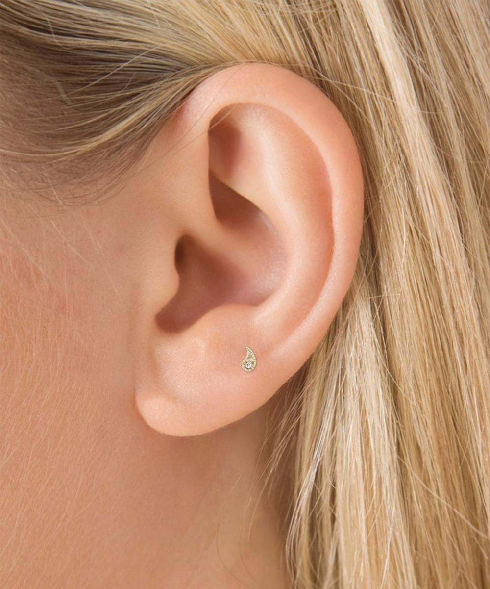 Diamond Paisley Threaded Stud Earring Left