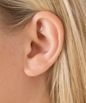 Diamond Paisley Threaded Stud Earring Left