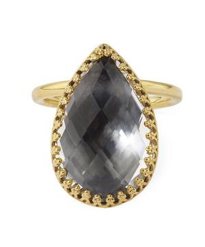 18ct Gold Sadie White Quartz Pear Ring