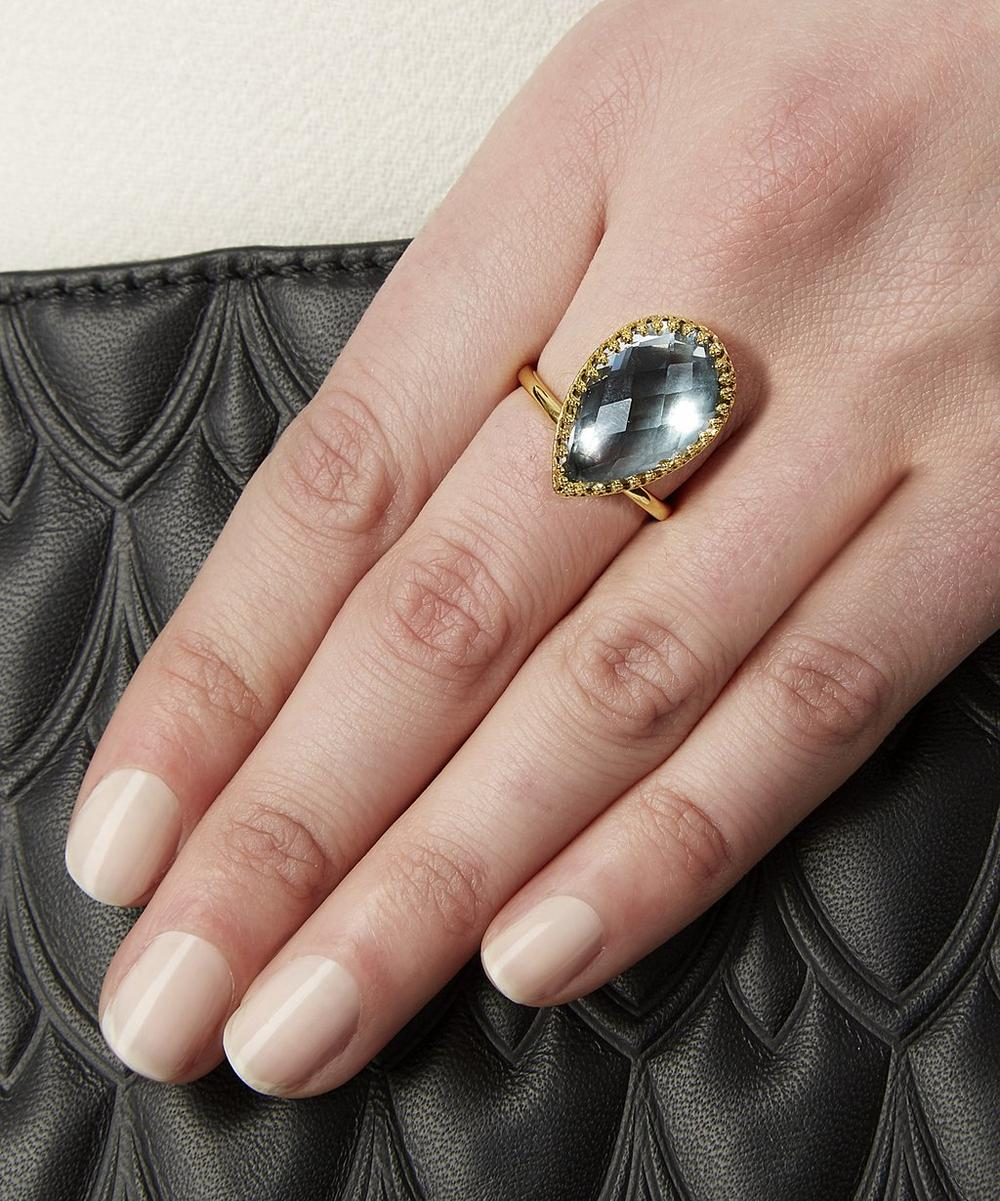18ct Gold Sadie White Quartz Pear Ring