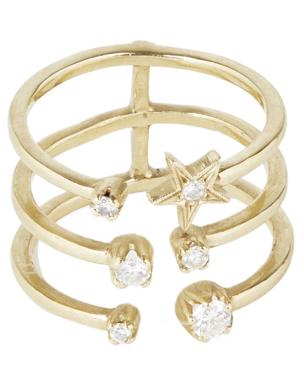 Gold White Diamond Star Triple Band Ring