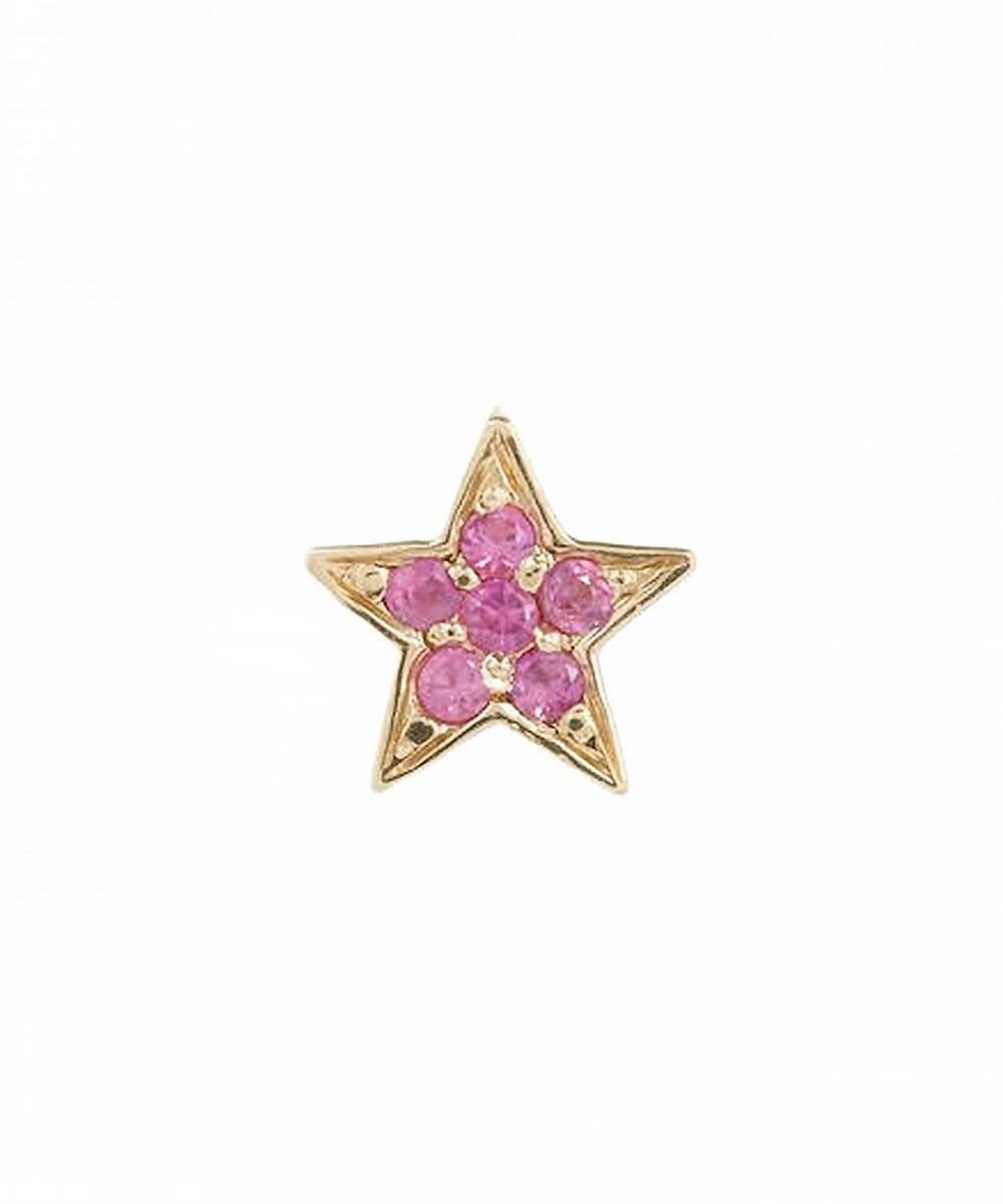 Gold Mini Star Pink Sapphire Stud Earrings