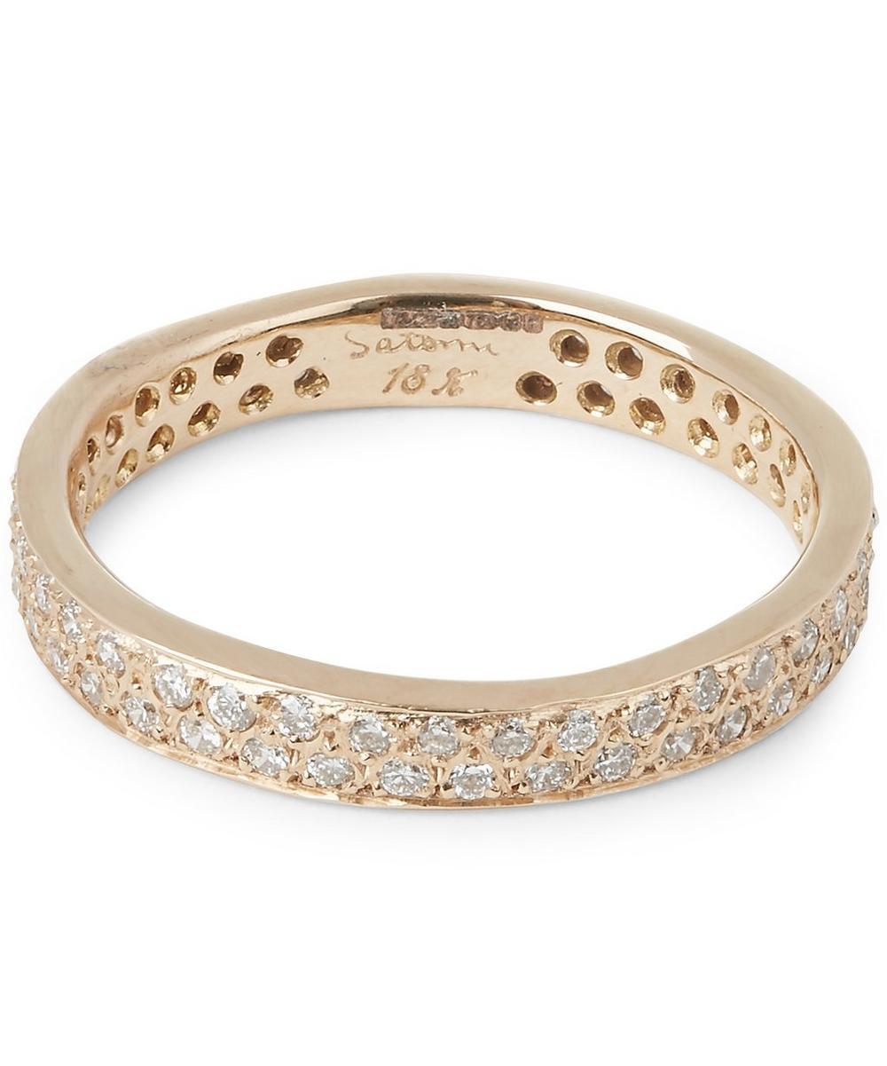 Gold Double Row White Diamond Ring