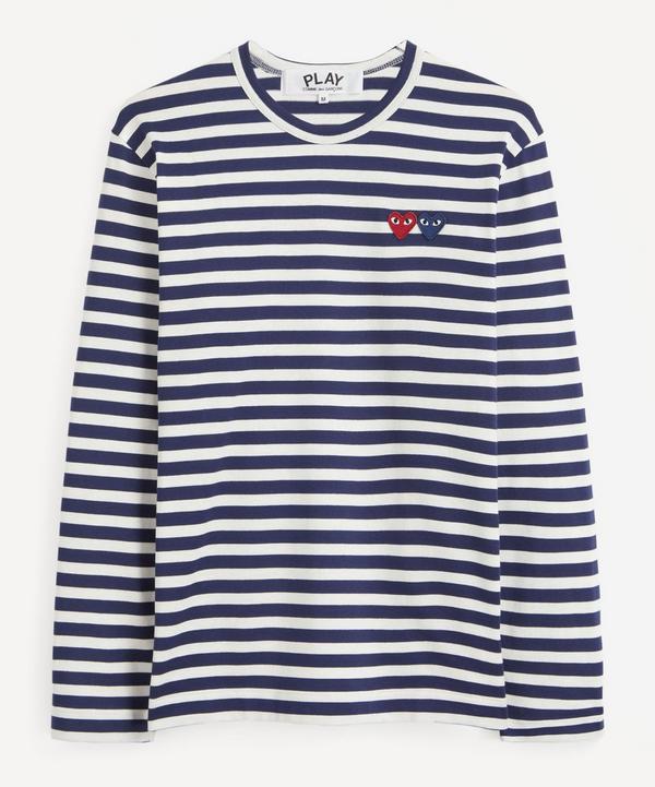 Comme des Garçons Play - Double-Logo Striped Cotton Long-Sleeve T-Shirt