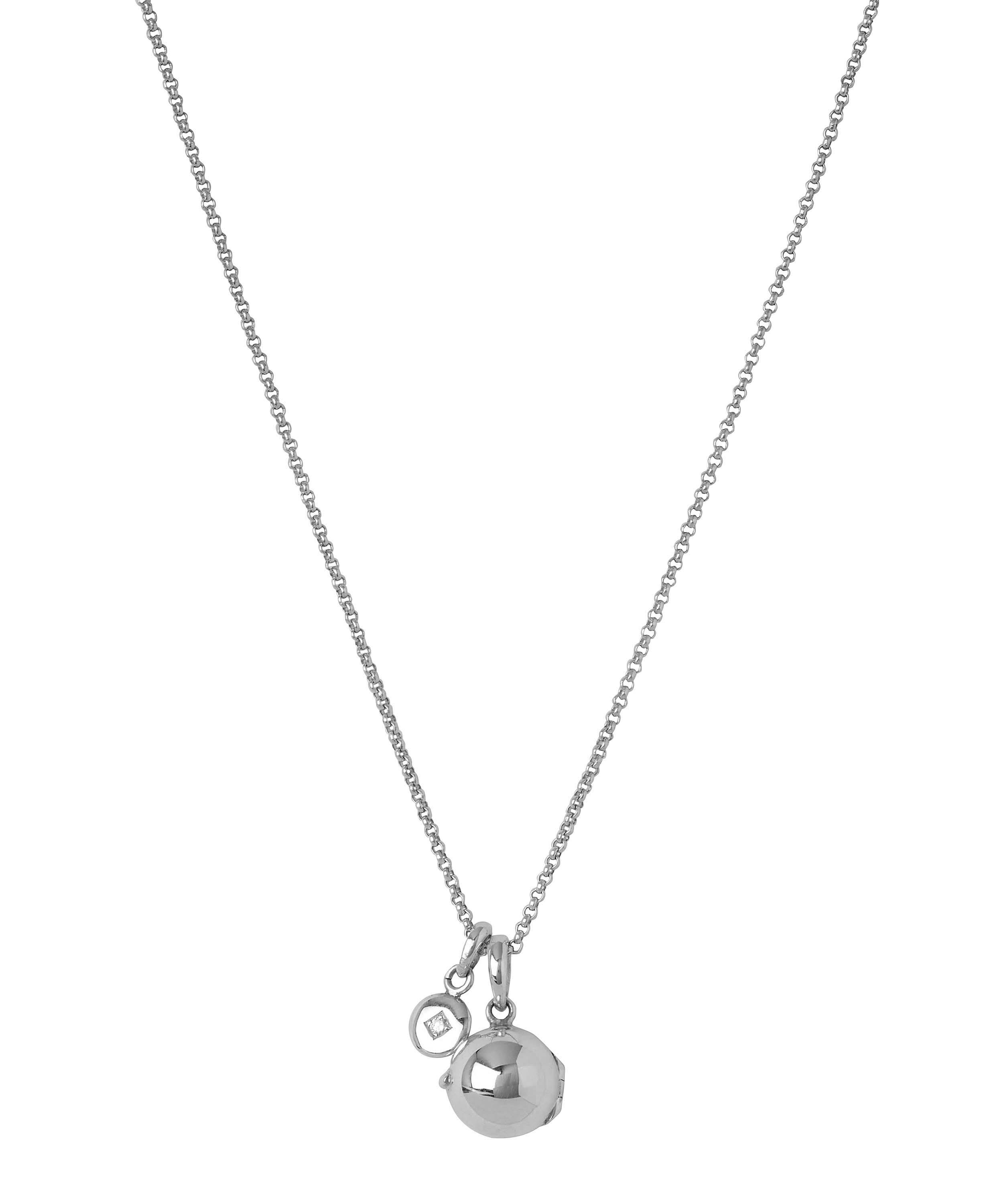 a9a5117d8941 Small Silver My World Locket and Mini Diamond Charm Pendant Necklace ...
