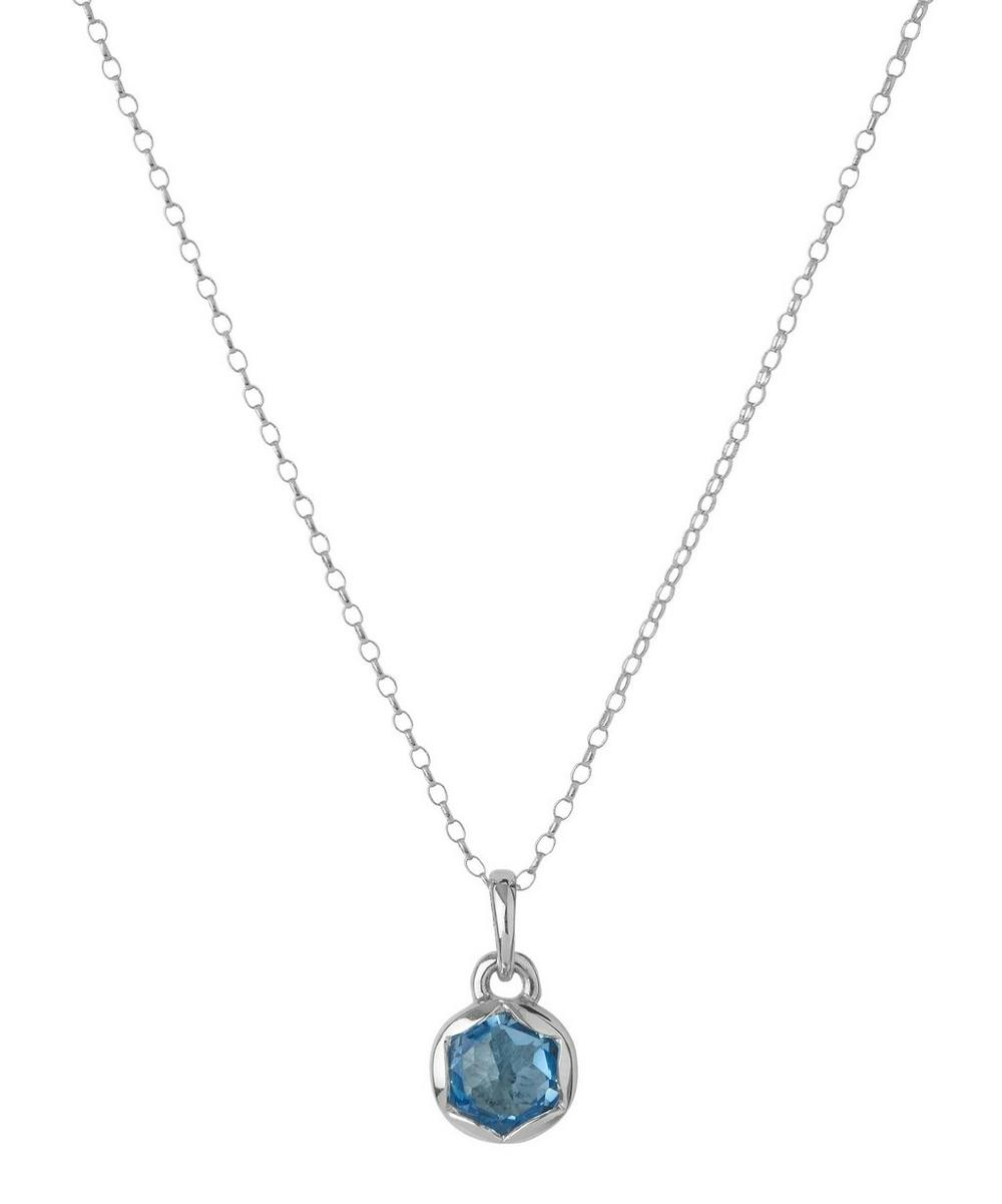 Small Silver Fluted Orb Swiss Blue Topaz Charm Pendant Necklace