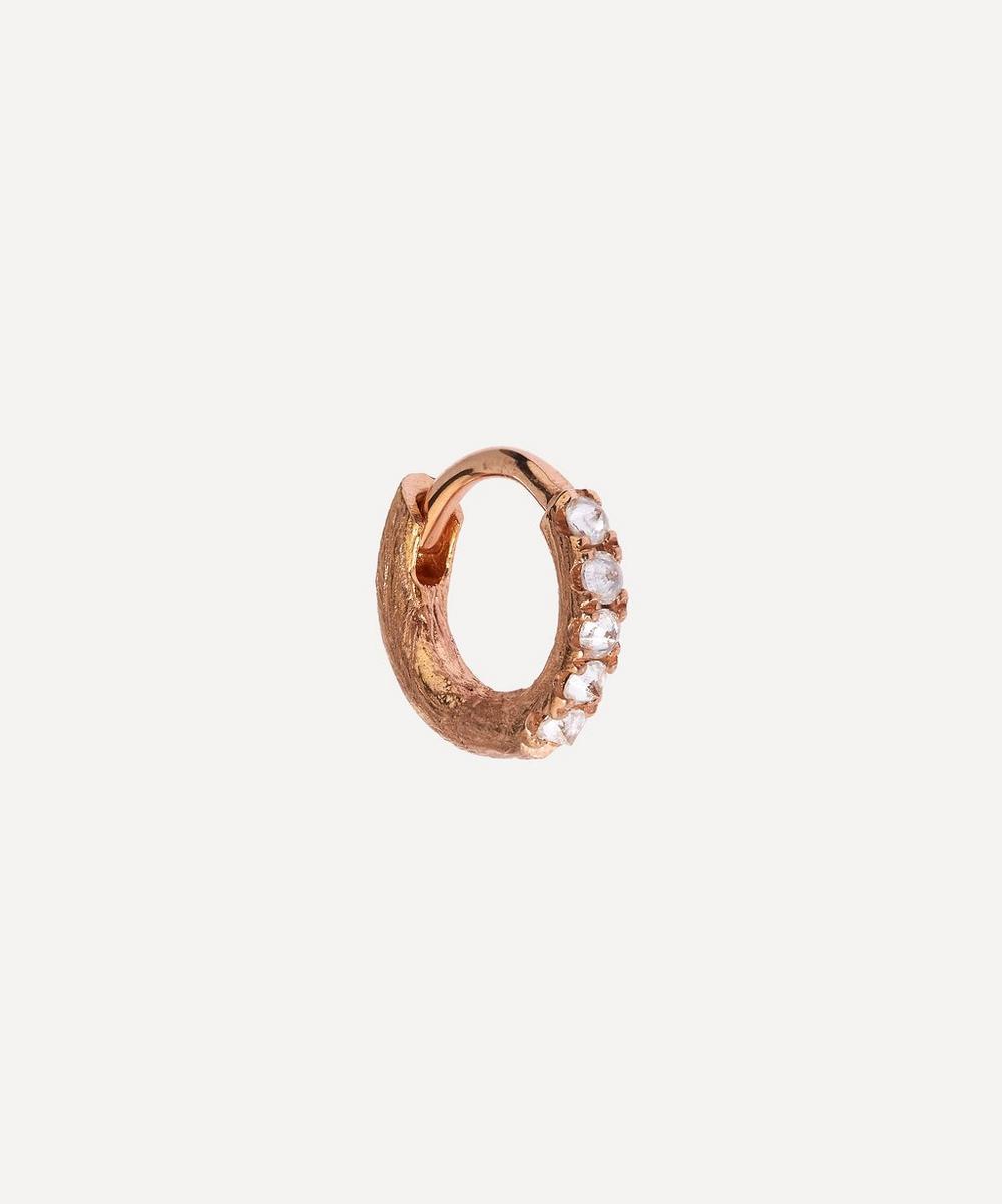 Rose Gold Dusty Diamond Hoop Earring