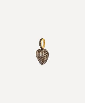 18ct Gold Vintage Brown Diamond Heart Charm