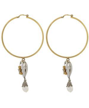 Heart and Pearl Locket Hoop Earrings