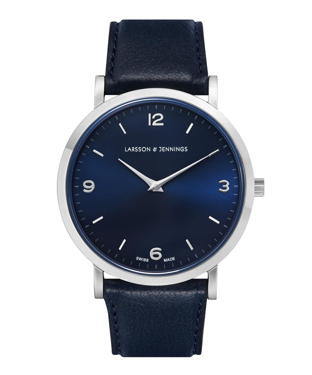 Lugano 38mm Silver-Navy Leather Watch